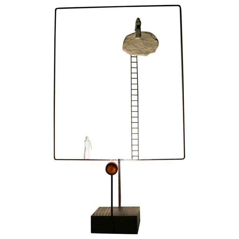 Porcelain Sculpture Table Lamp 'Sharing Our Cloud', France For Sale