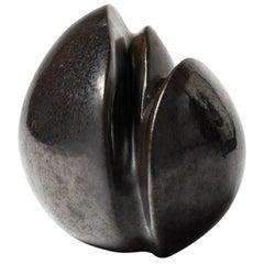 Porcelain Sculpture with Black Glaze Decoration by Tim Orr, circa 1970