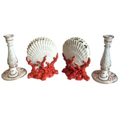 Porcelain Staffordshire Shell and Coral Form Bough Pots and Candlesticks