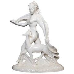 """Porcelain Statue """"Woman with Roe"""", Czechoslovakia, 1942, Rudolf Hlavina"""