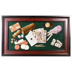 Porcelain Still Life Plaque Depicting Various Game Pieces