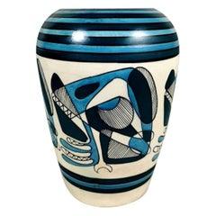 Porcelain Stoneware Vase with Cubist Style Decoration, Italy, 1950