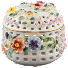 Porcelain Sweet Box with Flowers, after Models from Sèvres, 'France'