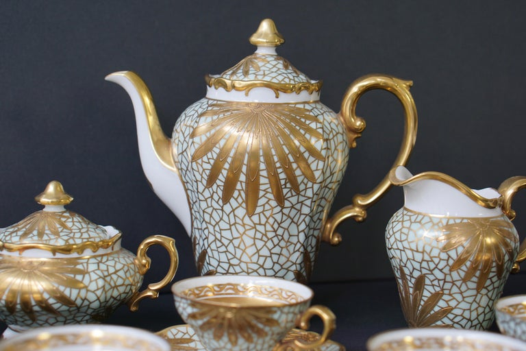 Porcelain Tea or Coffee Set for Heinrich Selb Bavaria Germany Gold/White 11