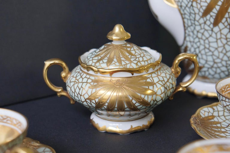 Porcelain Tea or Coffee Set for Heinrich Selb Bavaria Germany Gold/White 12