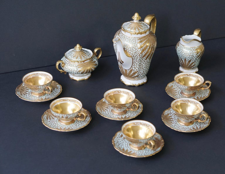 Porcelain Tea or Coffee Set for Heinrich Selb Bavaria Germany Gold/White 13