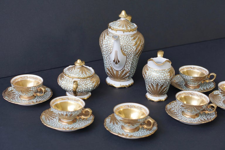 Porcelain Tea or Coffee Set for Heinrich Selb Bavaria Germany Gold/White 14