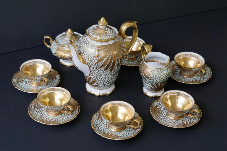 Porcelain Tea or Coffee Set for Heinrich Selb Bavaria Germany Gold/White 15