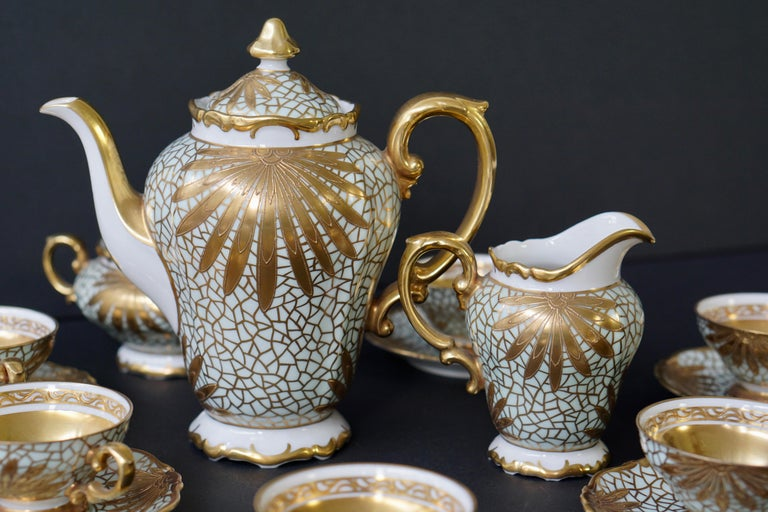 Porcelain Tea or Coffee Set for Heinrich Selb Bavaria Germany Gold/White 18