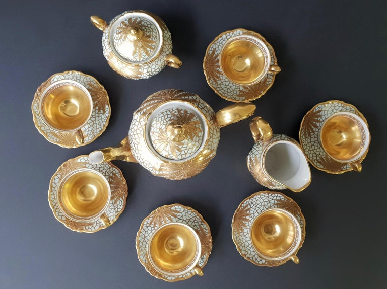 Porcelain Tea or Coffee Set for Heinrich Selb Bavaria Germany Gold/White 2