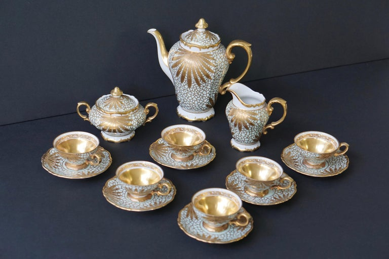 Porcelain Tea or Coffee Set for Heinrich Selb Bavaria Germany Gold/White 3