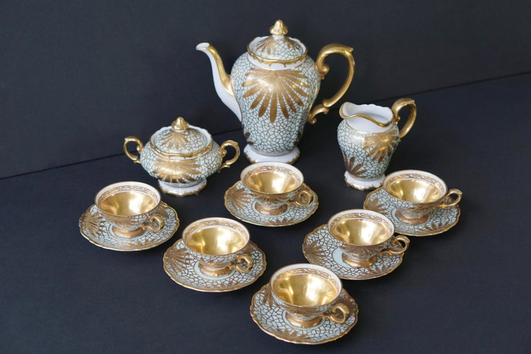 Porcelain Tea or Coffee Set for Heinrich Selb Bavaria Germany Gold/White 4
