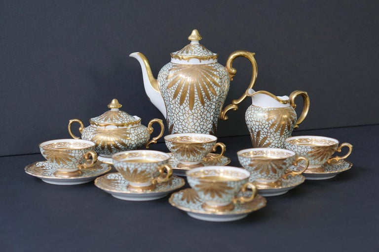 Porcelain Tea or Coffee Set for Heinrich Selb Bavaria Germany Gold/White 5