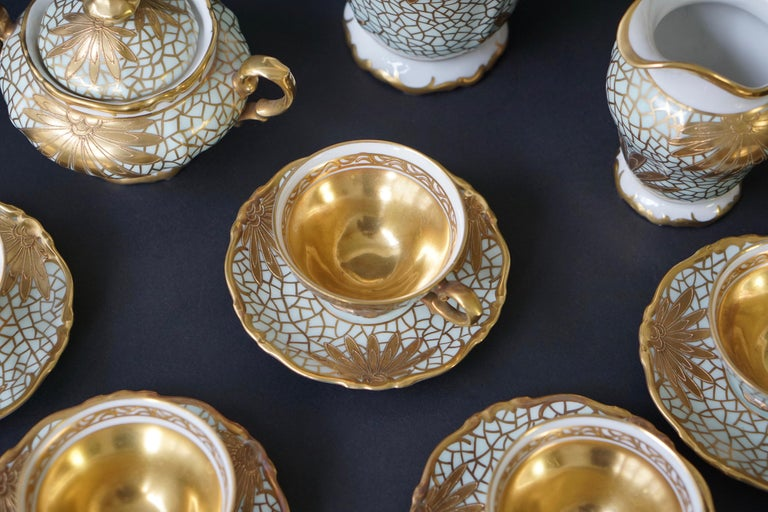 Porcelain Tea or Coffee Set for Heinrich Selb Bavaria Germany Gold/White 7