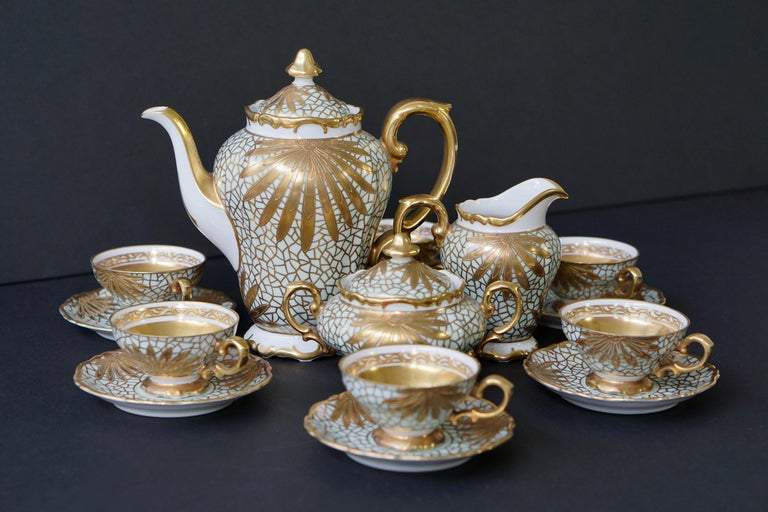 Porcelain Tea or Coffee Set for Heinrich Selb Bavaria Germany Gold/White 8