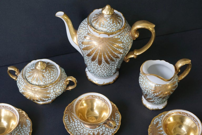 Porcelain Tea or Coffee Set for Heinrich Selb Bavaria Germany Gold/White 9