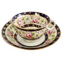 Porcelain Teacup New Hall, Pink Roses, Cobalt Blue, Regency, circa 1815 '2'