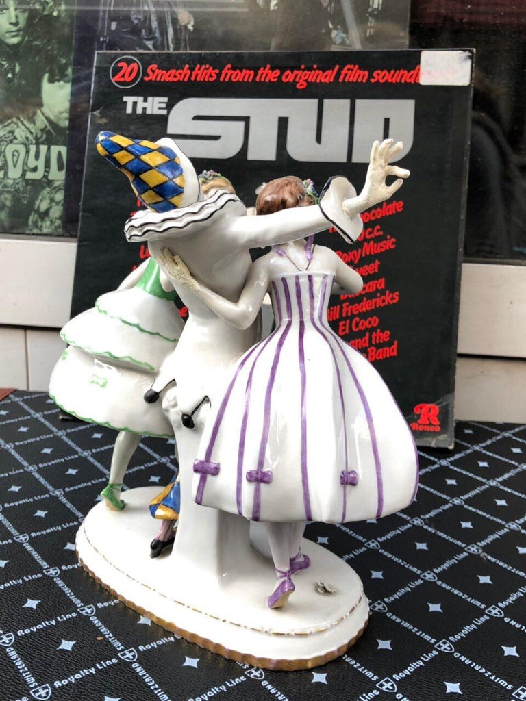 Hand-Painted Porcelain Thuringia Germany Figure Dancing Harlequin Columbines, Stamped, 1932 For Sale
