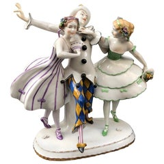 Porcelain Thuringia Germany Figure Dancing Harlequin Columbines, Stamped, 1932