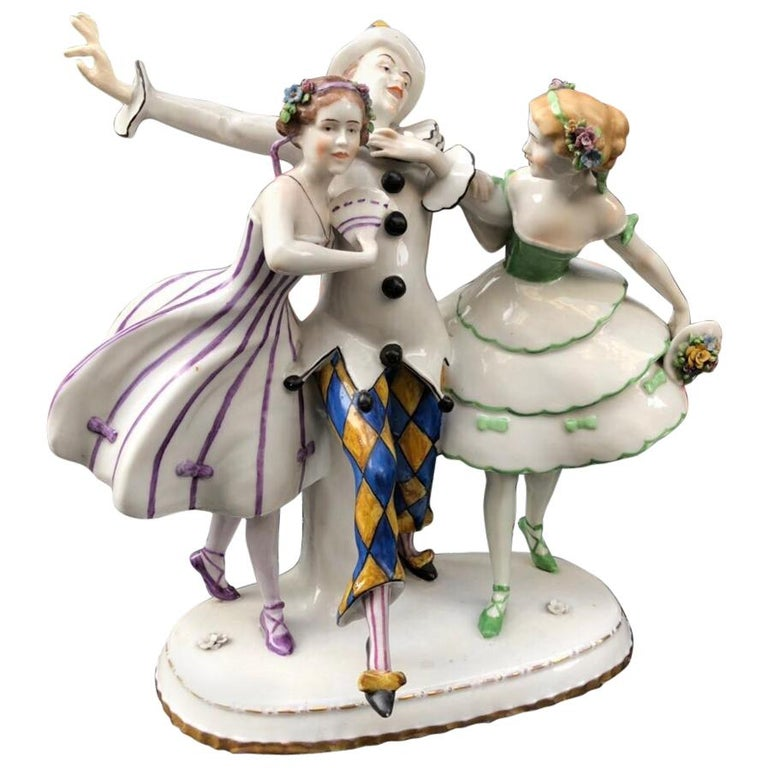 Porcelain Thuringia Germany Figure Dancing Harlequin Columbines, Stamped, 1932 For Sale