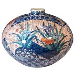 Blue White Porcelain Vase by Japanese Master Artist