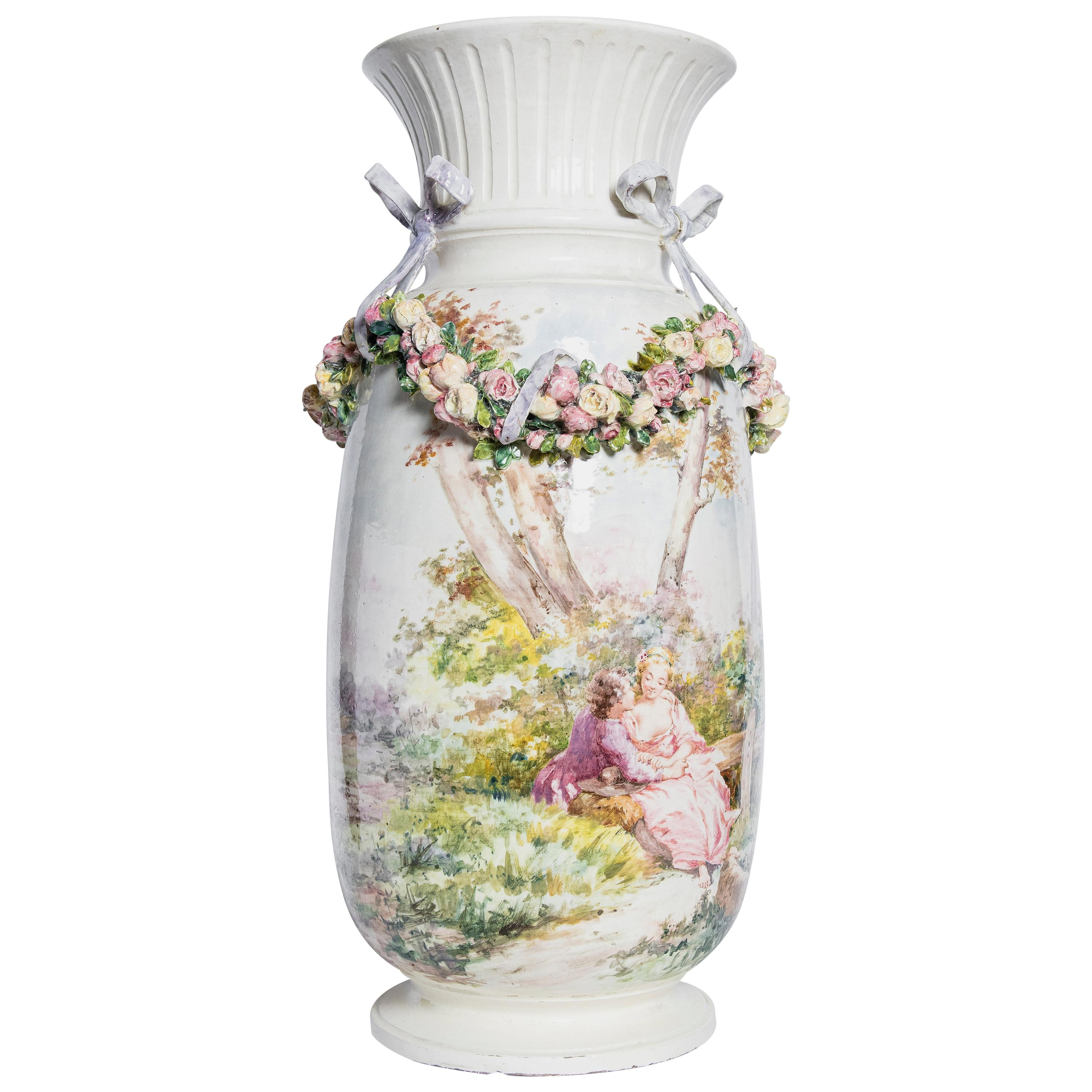 Porcelain Vase, Rococo Style, France, Late 19th Century