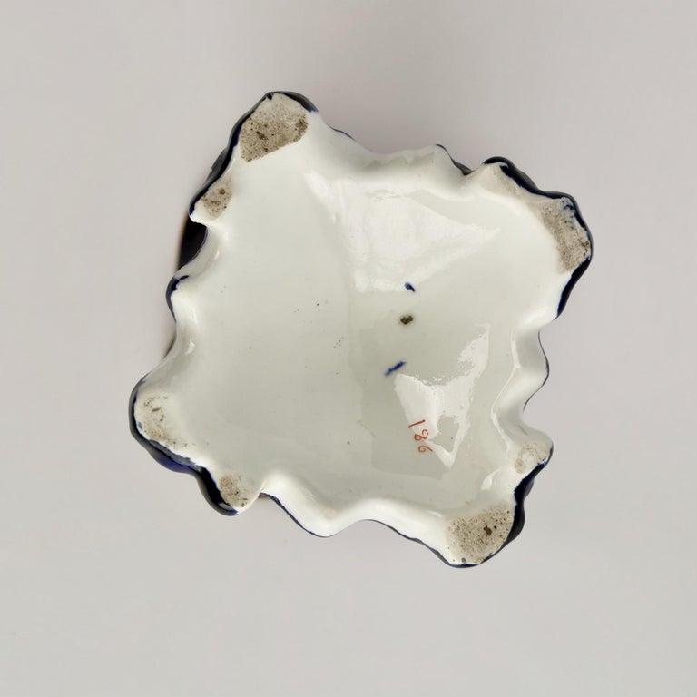 Porcelain Vase Samuel Alcock, Cobalt Blue, Swan Handles, Rococo Revival For Sale 10