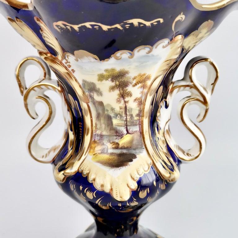 Mid-19th Century Porcelain Vase Samuel Alcock, Cobalt Blue, Swan Handles, Rococo Revival For Sale