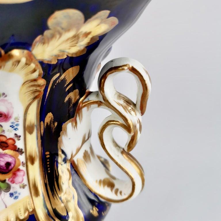 Porcelain Vase Samuel Alcock, Cobalt Blue, Swan Handles, Rococo Revival For Sale 1