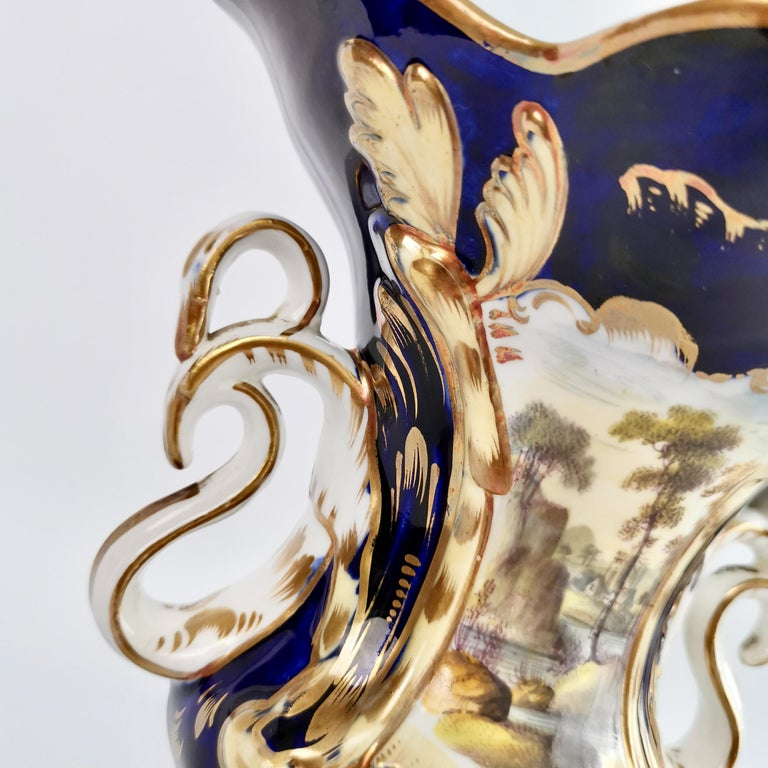 Porcelain Vase Samuel Alcock, Cobalt Blue, Swan Handles, Rococo Revival For Sale 2