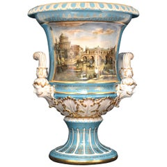 Porcelain Vase with Hand Painted Scene, after 19th Century Models from Meissen