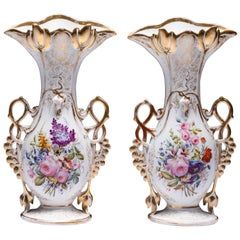 Porcelain Vases French 19th Century in Well Known Vieux Paris Porcelain Floral