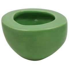 Porcelain Vessel with Green Glossy Glaze