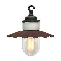 Porcelain Vintage Industrial Brown Rust Metal Clear Glass Pendant Lights (22x)