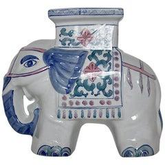 Porcelain Vintage White Blue Pink Green Pastel Modern Elephant, 1970s
