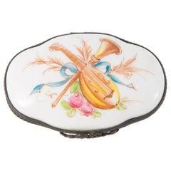 Porcelain White Music Instruments Medicine Box