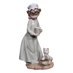 Porcelain Woman with Cat Figurine, 1970s