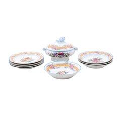 Porcelaine de Paris 19th Century Floral Dish Set with Casserole and Plates