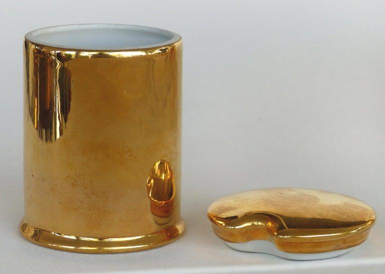 French Porcelaine de Paris Gold Lustre Lidded Condiment Jars and Stand For Sale