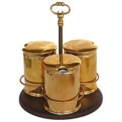 Porcelaine de Paris Gold Lustre Lidded Condiment Jars and Stand