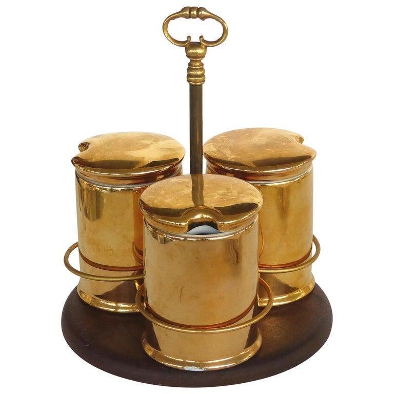 Porcelaine de Paris Gold Lustre Lidded Condiment Jars and Stand For Sale