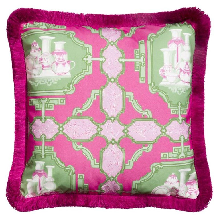 Porcelenas Multicolored Bright Pink and Green Vase Cotton Fabric Cushion/Pillow For Sale