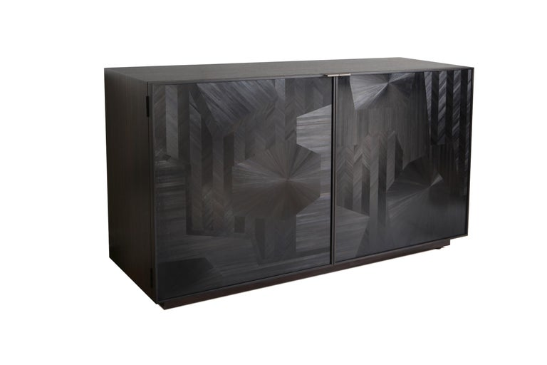 Contemporary Porchester Sideboard with Straw Marquetry Inlay and Patinated Brass Plinth For Sale