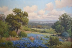 """"""" BLUEBONNETS """"  TEXAS HILL COUNTRY LANDSCAPE PAINTING"""