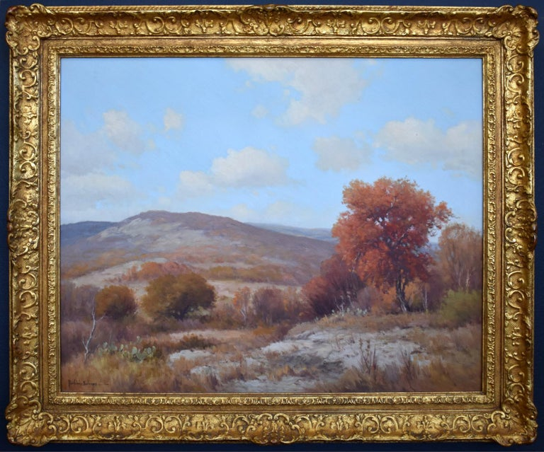 "Porfirio Salinas  (1910-1973) San Antonio Artist Image Size: 24 x 30 Frame Size: 30.5 x 36.5 Medium: Oil ""Autumn in the Texas Hill Country"" Porfirio Salinas was a self-taught artist who painted landscapes of Central Texas with an emphasis on the"