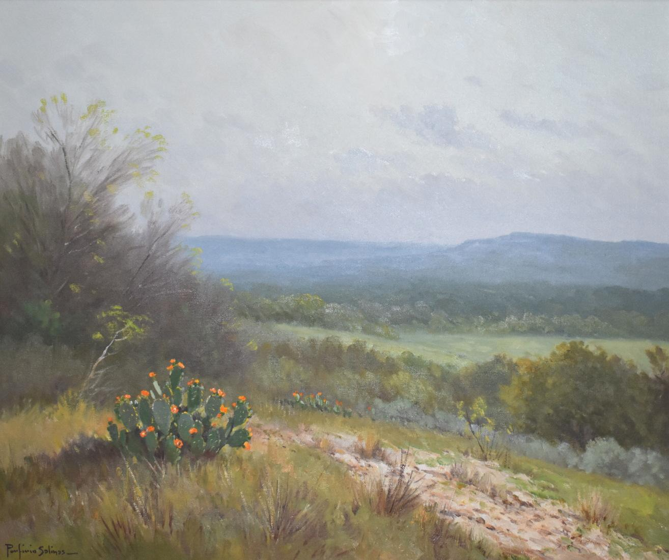 """""""Blooming Prickly Pear Cactus""""  Texas Hill Country Landscape"""