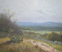 """Blooming Prickly Pear Cactus""  Texas Hill Country Landscape"