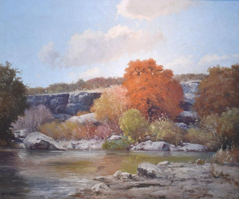 """Porfirio Salinas Landscape Painting - """"Guadalupe River""""  Beautiful Rock formations on the Gaudalupe River.  Texas"""