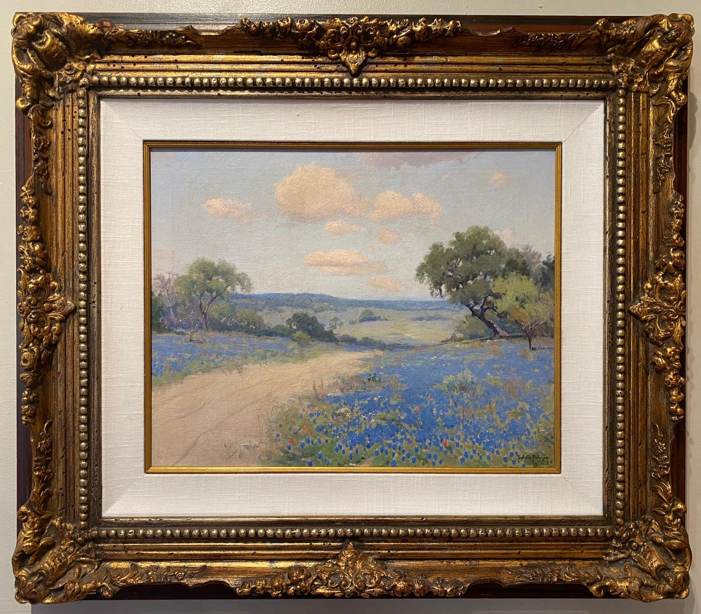 """""""PATH THROUGH BLUE """"  TEXAS HILL COUNTRY BLUEBONNET WILDFLOWERS DATED 1930"""