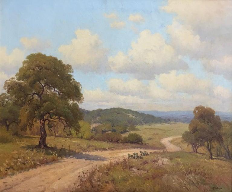 "Porfirio Salinas Animal Painting - ""Ranch Road""  Texas Hill Country Scene"